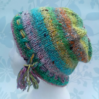 Handknit Noro cotton silk & wool hat M Pastel Rainbow
