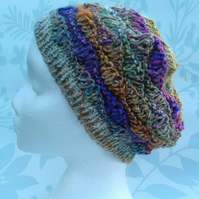 Handknit Cotton Wool Silk Lacy Beret Medium pink purple orange mix