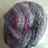 Handknit Cotton Wool Silk Lacy Beret Medium blue purple mix