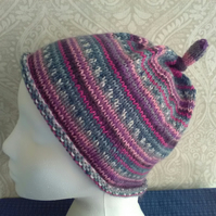Handknit KNOTTY TOP BEANIE Stripey jacquard in Pink, purple, teal child teen