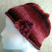 Handknit Noro 3-flower Roll up Beanie Hat 100% wool browns terracotta pink SMALL