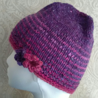 Handknit Noro 2-flowered Roll up Beanie Hat 100% wool stripey pink purple SMALL