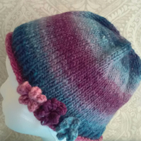 Handknit Noro 3-flowered Roll up Beanie Hat 100% wool Purples & Blues SMALL