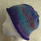 Handknit NORO Roll up Beanie Hat 100% wool Stripey Blues & Reds MED