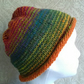 Handknit NORO Roll up Beanie Hat 100% wool Stripey Rainbow MED