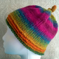 Handknit Knotty Top Roll Up NORO Beanie Hat 100% wool Stripey Rainbow