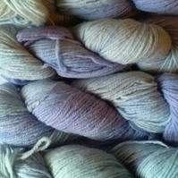 Hand-dyed Wool DK pale blues greens and lavender 50g
