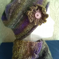 Handknit Noro Hat & Cowl Set. Wool & Angora muted heathers