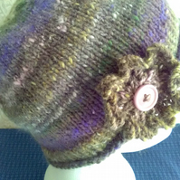 Handknit Noro single flowered Hat. Wool & Angora muted heathers