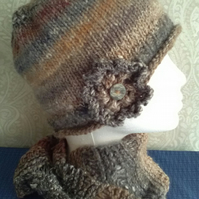 Handknit Noro Hat & Cowl Set. Wool & Silk muted browns
