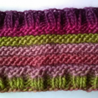 Handknit GIRLS STRIPEY HEADBAND Heather