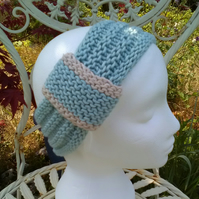 Vintage look loop Headband Bamboo & Wool - Ice Blue M