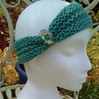 SKINNY BLINGY HAIRBAND HandKnit BAMBOO Sea Turquoise SMALL