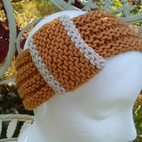 Vintage look loop Headband Bamboo & Wool - Golden Mustard M