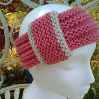 Vintage look loop Headband Bamboo & Wool - Candy Pink Medium