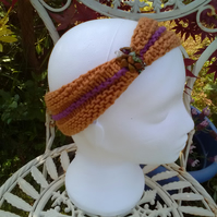 HAIRBAND HandKnit BAMBOO GOLDEN MUSTARD PURPLE Medium