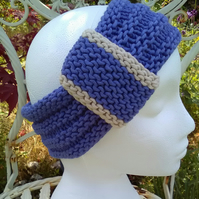 Vintage look loop Headband Bamboo & Wool - Blue Lavender M