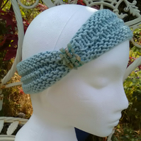 HEADBAND SALE! SKINNY BLINGY HAIRBAND HandKnit BAMBOO Ice Blue Medium