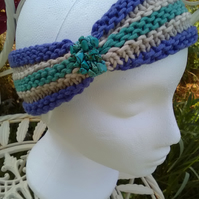 SKINNY BLINGY HAIRBAND HandKnit BAMBOO Purple Sea Turquoise Medium