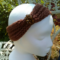 SKINNY BLINGY HAIRBAND HandKnit BAMBOO CHOCOLATE BROWN Medium