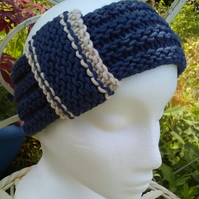 Vintage look loop Headband Bamboo & Wool Navy Blue Medium