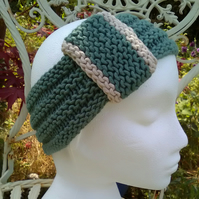 Vintage look loop Headband Bamboo & Wool Sea Green Medium