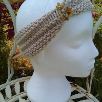 SKINNY BLINGY HAIRBAND HandKnit BAMBOO Cream Medium