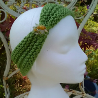 SKINNY BLINGY HAIRBAND HandKnit BAMBOO LIME GREEN MEDIUM