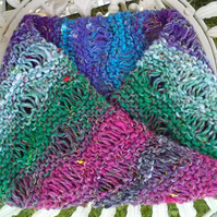 Noro MOBIUS NECK WARMER cotton, wool & silk in purple, turq, pink, white & green