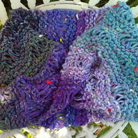 Noro MOBIUS NECK WARMER cotton, wool & silk in Purple, Lilac, Aqua, Sage
