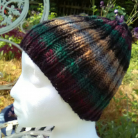 Handknit 100% Wool NORO STRIPEY RIBBED HAT Grey Black Forest MEDIUM