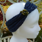 SKINNY BLINGY HAIRBAND HandKnit BAMBOO NAVY Medium