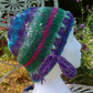 Handknit Noro cotton silk & wool hat purple blue green pink multi Medium