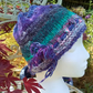 Handknit Noro cotton silk & wool hat Purple Green Pink Blue Medium