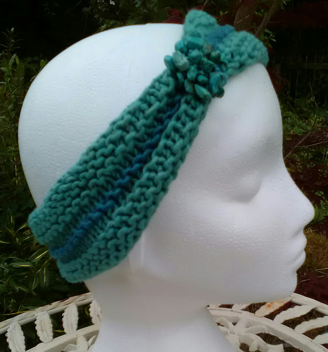 SKINNY BLINGY HAIRBAND HandKnit BAMBOO Sea Turquoise Teal Medium