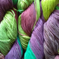 100g ARAUCANIA ULMO DK Hand dyed 100% Cotton multi greens purple