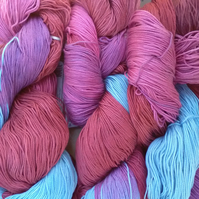 100g ARAUCANIA LONCO 4ply Hand dyed 100% Mercerised Cotton pink red blue