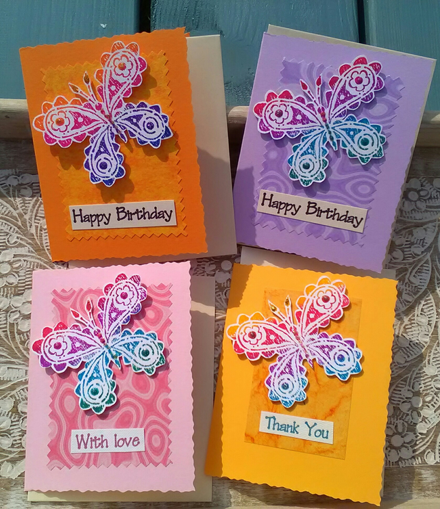 SPECIAL! 4 X MIXED GREETINGS CARDS Butterflies