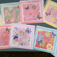 SPECIAL! 10 X SQUARE BLANK NOTE CARDS Butterflies