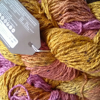100g ARAUCANIA TOLHUACA Multi Pink Yellow Aran Cotton bottone hand dyed
