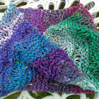 Noro MOBIUS NECK WARMER cotton, wool & silk in purple, aqua, pink, white & green
