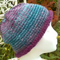 Handknit NORO Roll up Beanie Hat 100% wool Stripey purples turquoise MED