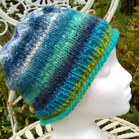 Handknit NORO Roll up Beanie Hat 100% wool blues and greens MED