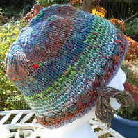 Handknit Noro cotton silk & wool hat Late Summer multi stripes Medium