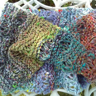 Noro MOBIUS NECK WARMER cotton, silk in teal lavender terracotta lime and white