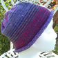 Handknit NORO Roll up Beanie Hat 100% Wool Stripey Pinks Purples Blues Grey MED