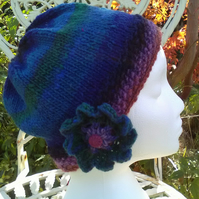 Handknit Noro Big Flower Beanie Hat  100% wool Green, Blues and purple MED