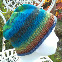 Handknit NORO Roll up Beanie Hat 100% wool turquoise and greens MED