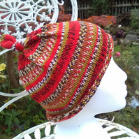 Handknit KNOTTY TOP Merino BEANIE Stripey Jacquard child teen adult small