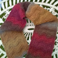 Handknit 100% WOOL textured scarf in multi reds and browns